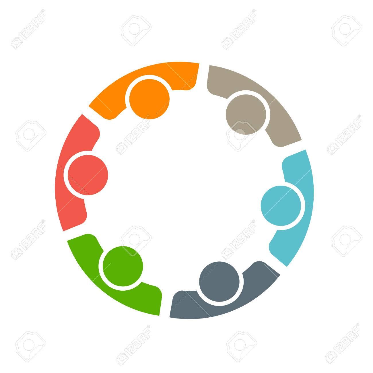 Team di sei persone. Concetto di gruppo di persone che si incontrano collaborazione e grande lavoro. Archivio Fotografico - 42091795