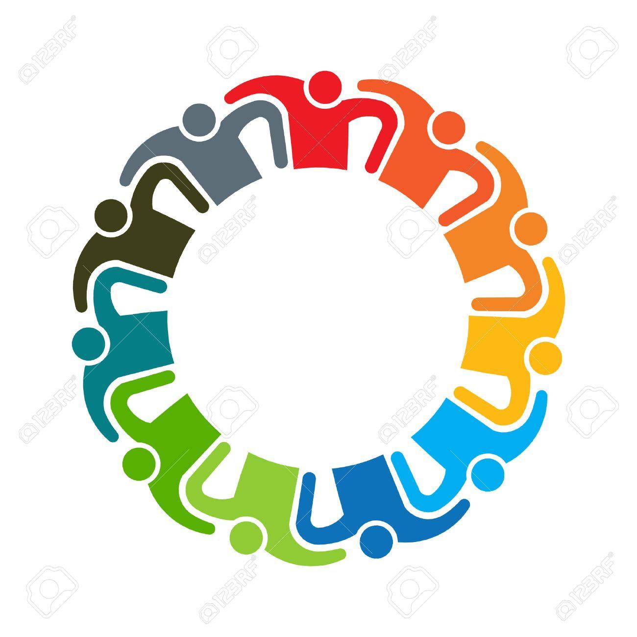 Persone teamwork logo. Gruppo di undici persone Archivio Fotografico - 43471578
