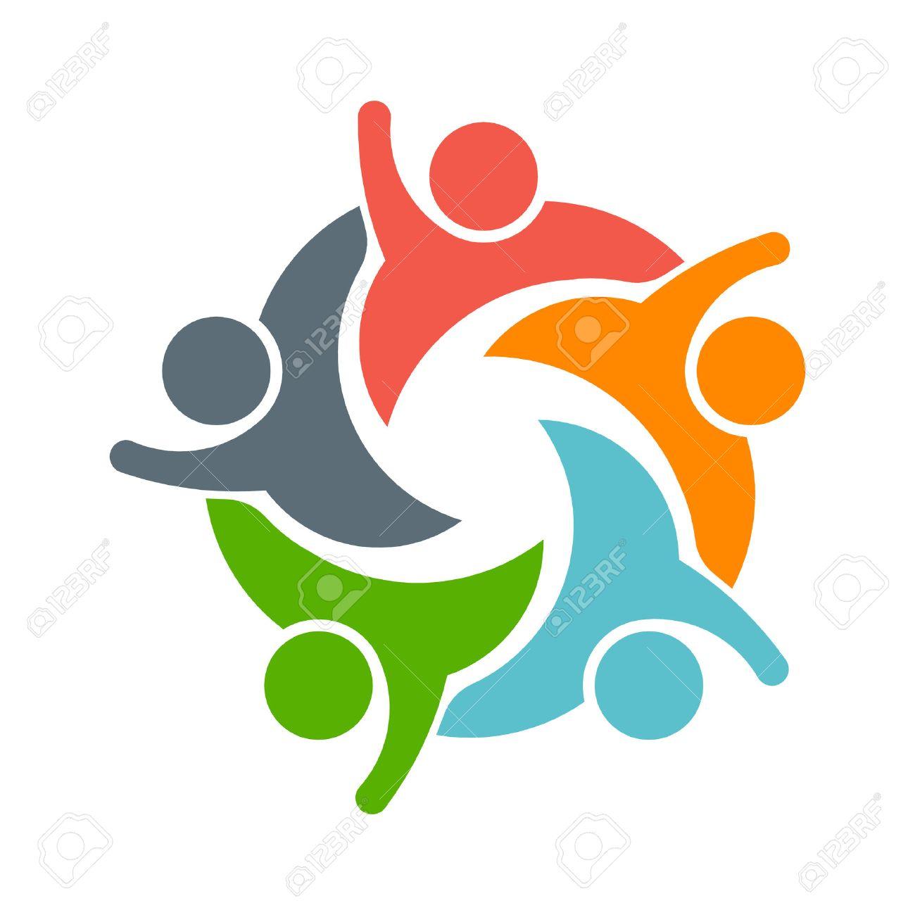 Teamwork People logo. Image of five persons Archivio Fotografico - 43475654