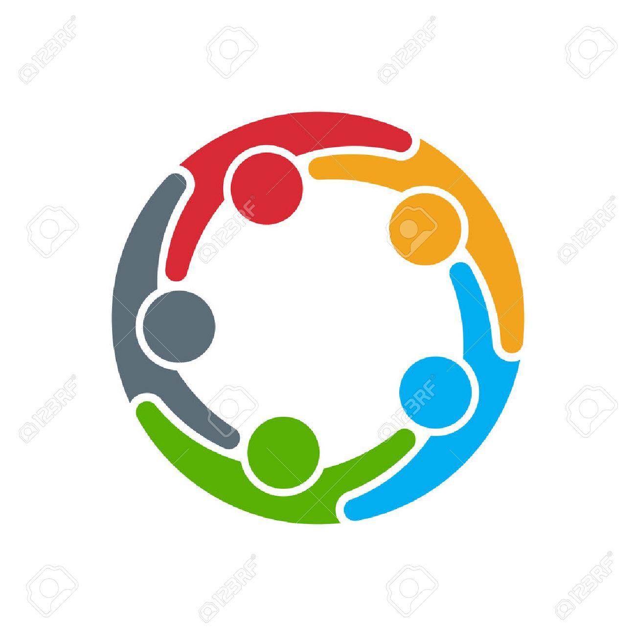 People icon. Gruppo di cinque persone in cerchio Archivio Fotografico - 45017687