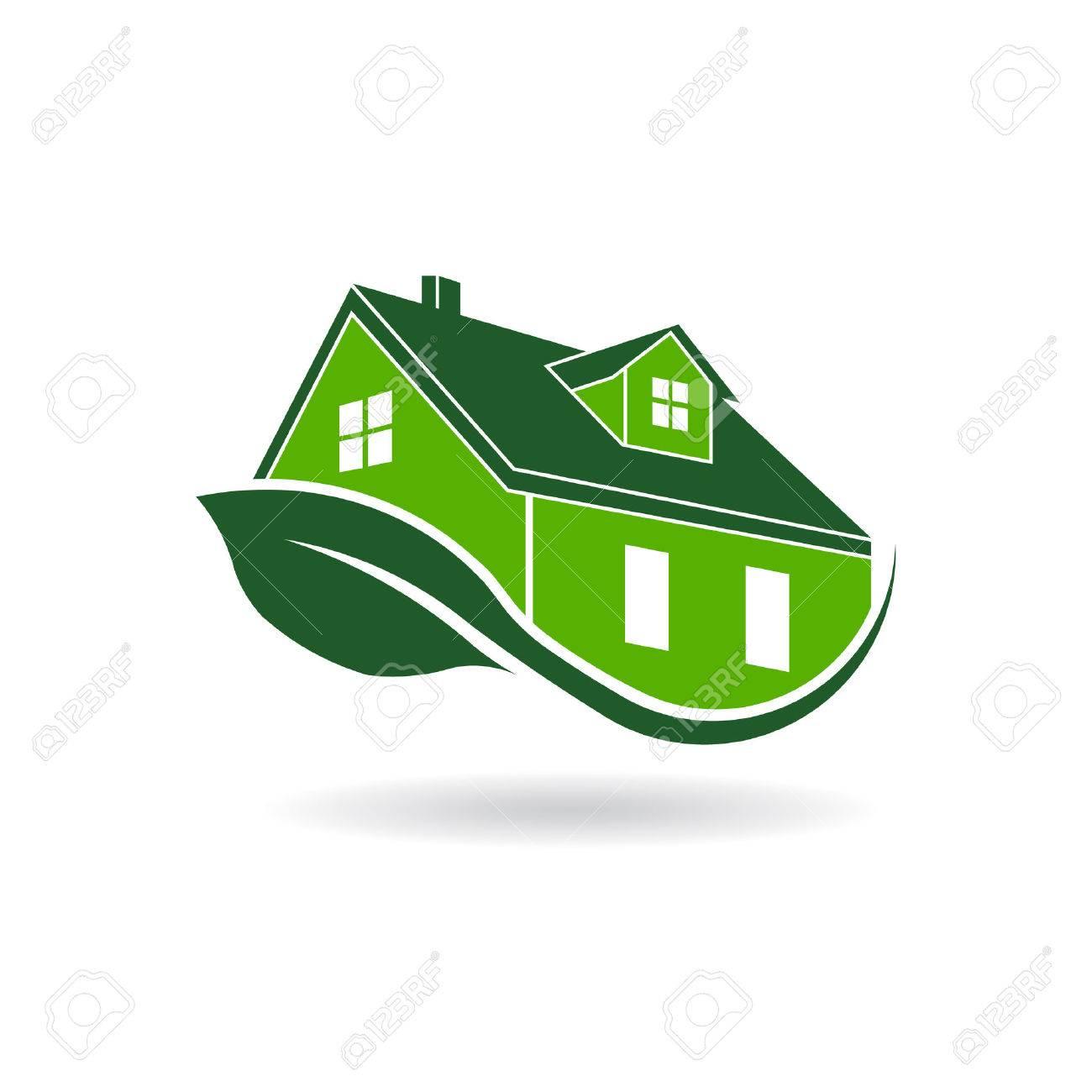 Verde casa efficiente logo, certificato ambientale Archivio Fotografico - 45795170