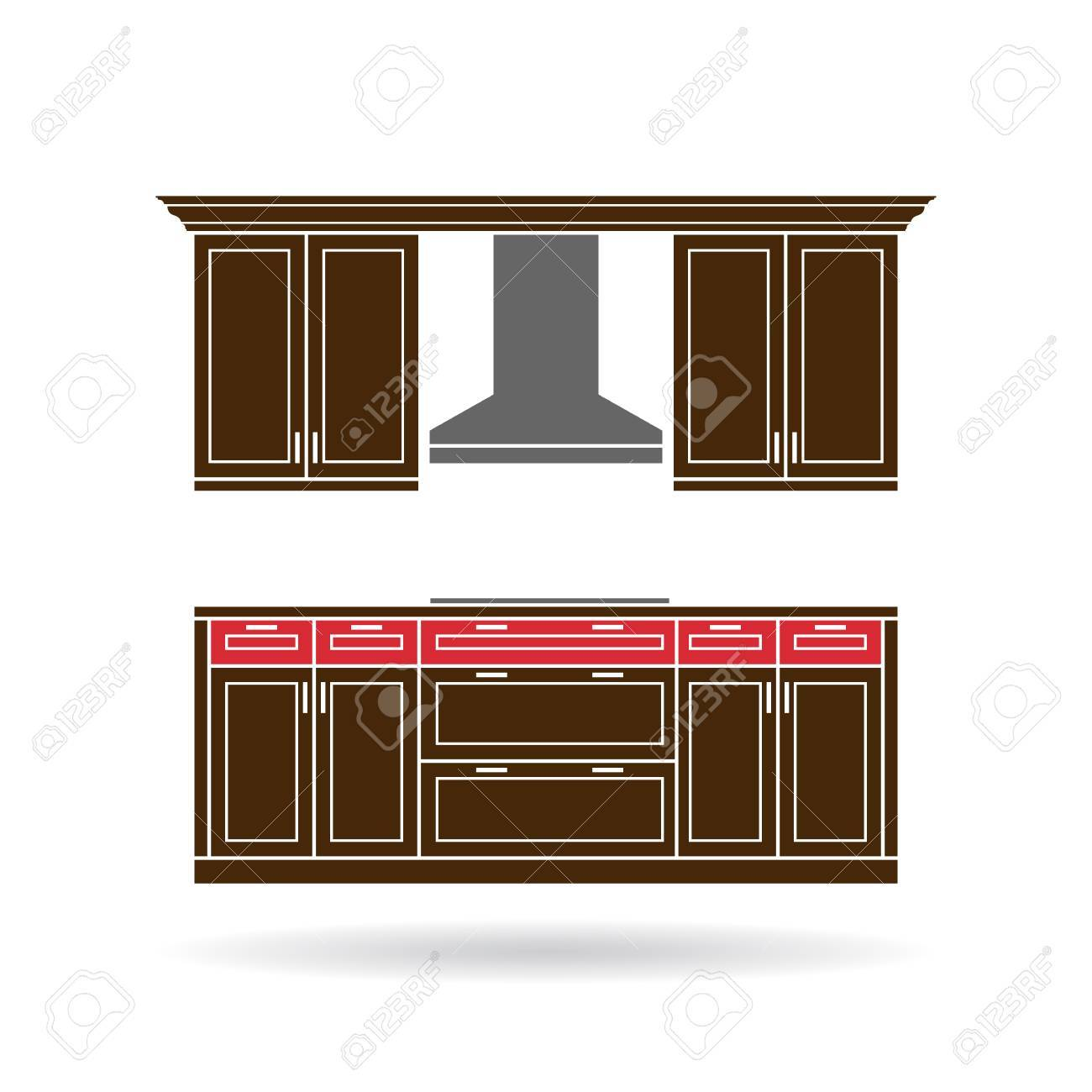 Modern Kitchen Cabinets With Cooktop Color Design Stock Vector   46287692