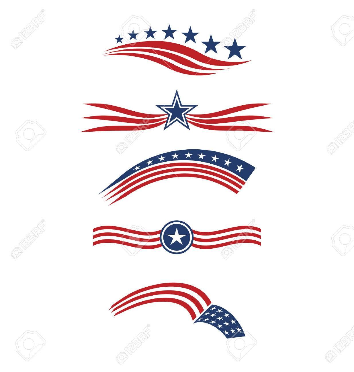 USA strisce bandiera stella elementi di design icone vettoriali Archivio Fotografico - 47253244