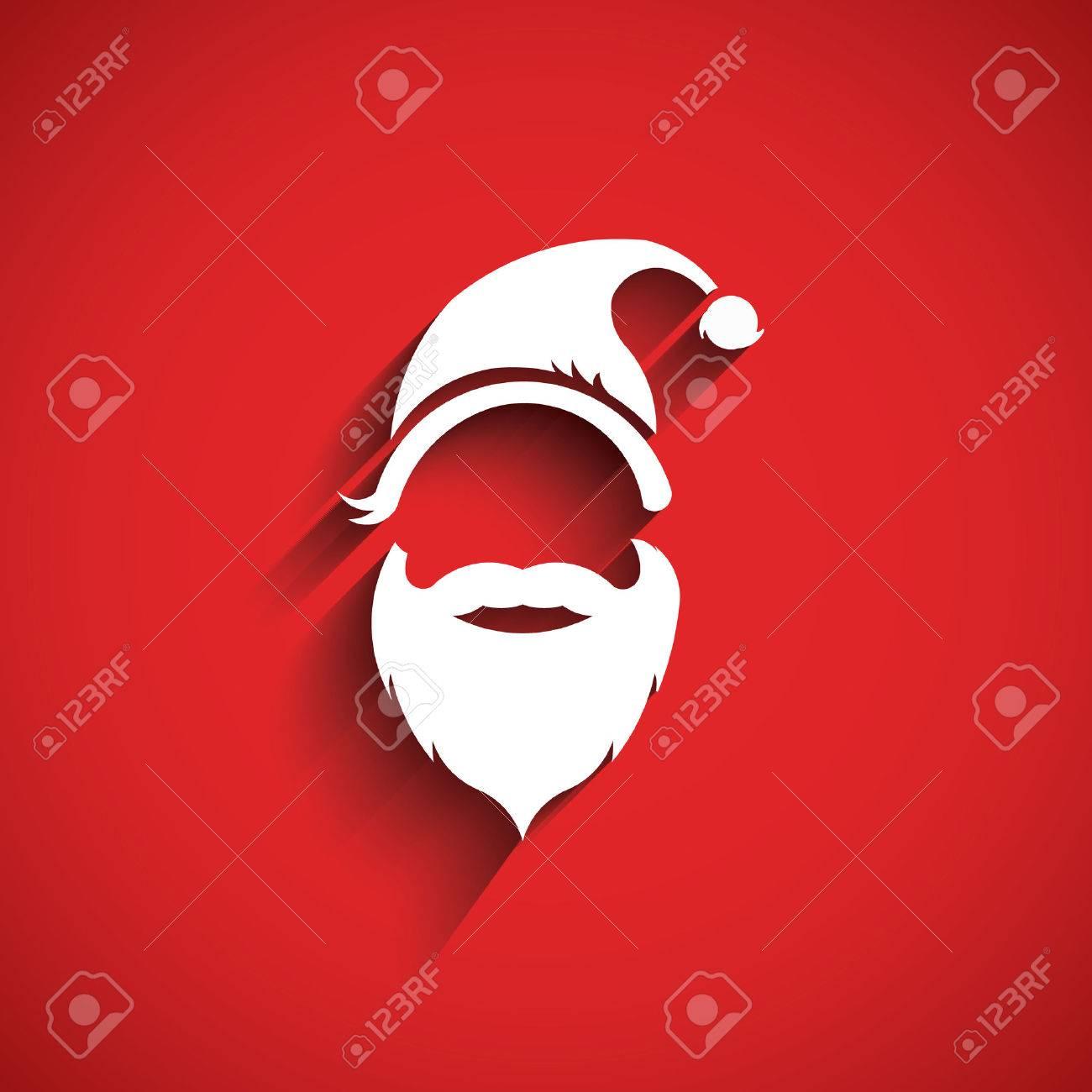 Santa hat, moustache with beard.3D Paper style Archivio Fotografico - 48162027