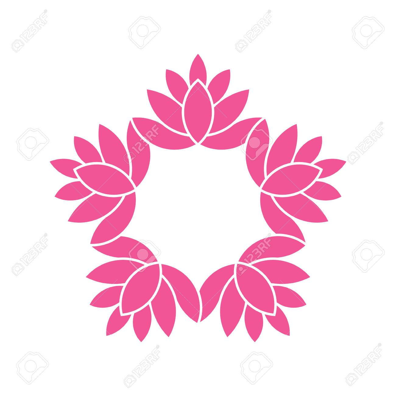 Lotus Flowers Circlewatercolor Style Vector Graphic Design Royalty