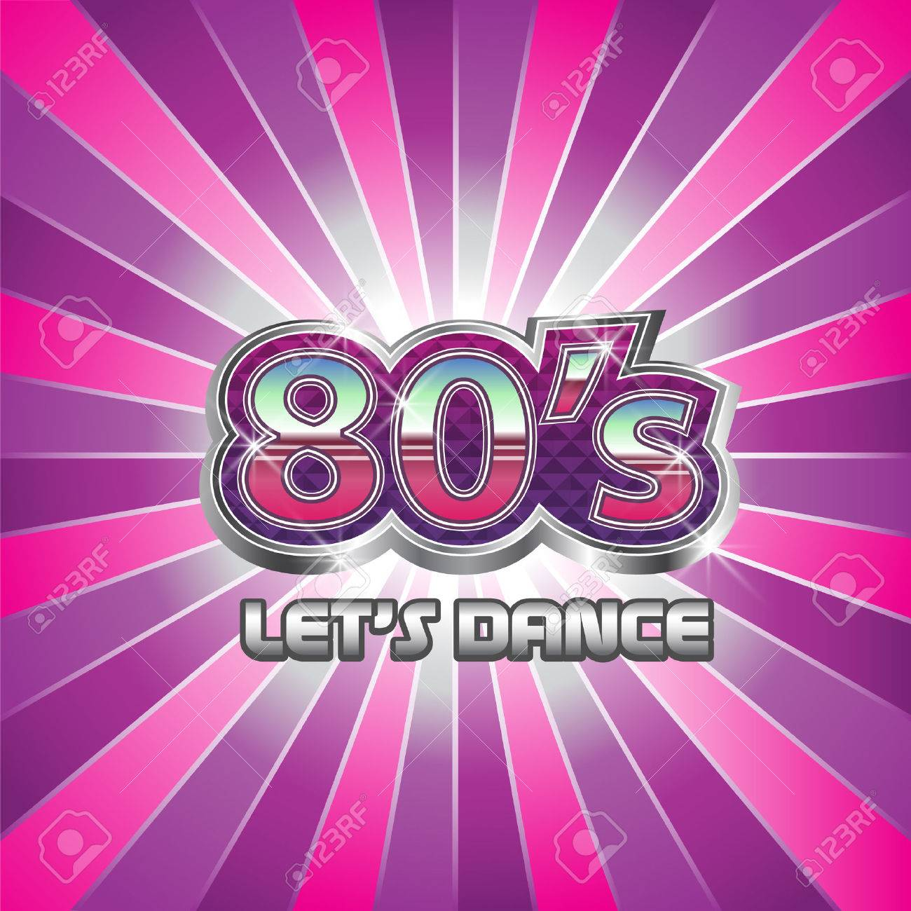 80s Dance Party Illustration Stock Vector
