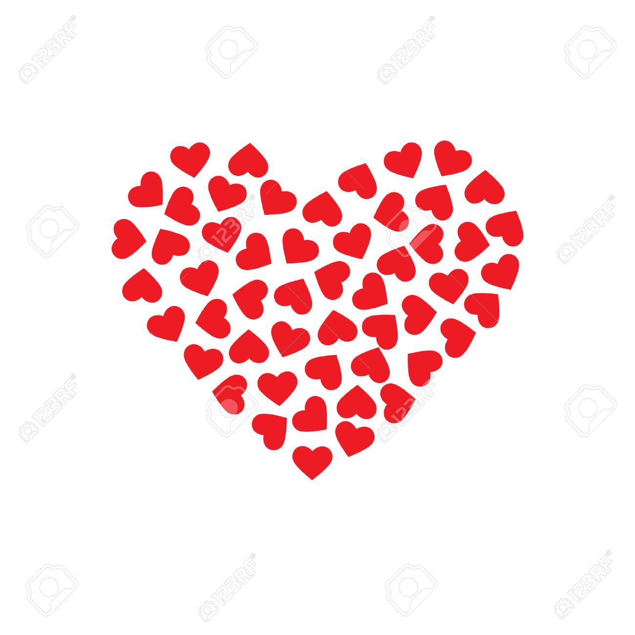 Modelo De Los Corazones Que Forman Un Corazón Grande Vector De