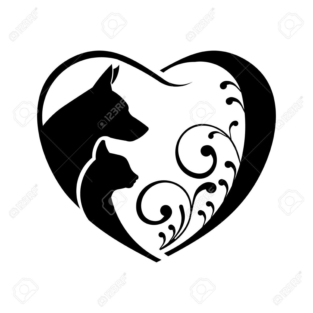 Cane e gatto amore cuore. grafica vettoriale Archivio Fotografico - 51423279