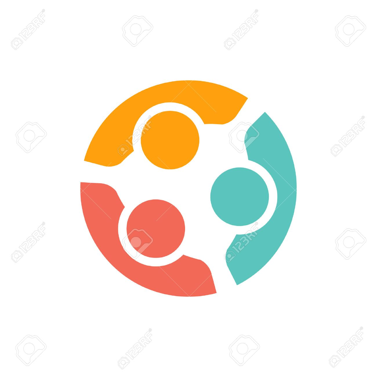 Team of three people logo. Concept of people group meeting collaboration and great work. - 52631564