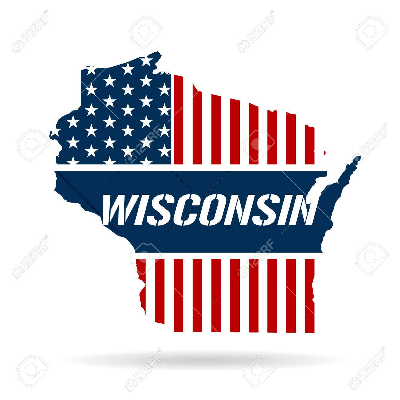 Wisconsin Patriotic Map Graphic Design Illustration Royalty Free - Free united states map graphic