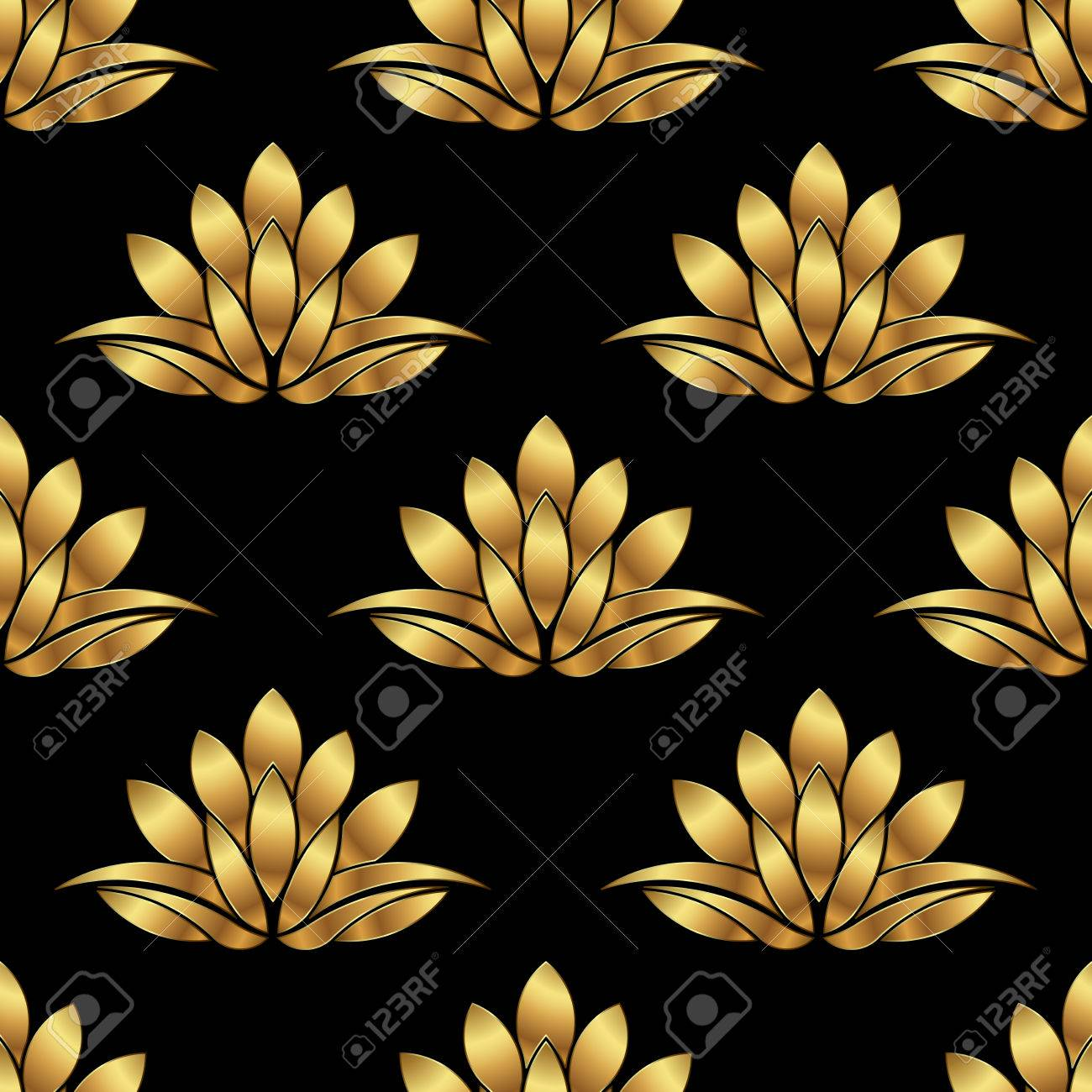 Golden Lotus Flower Pattern Background Vector Graphic Design