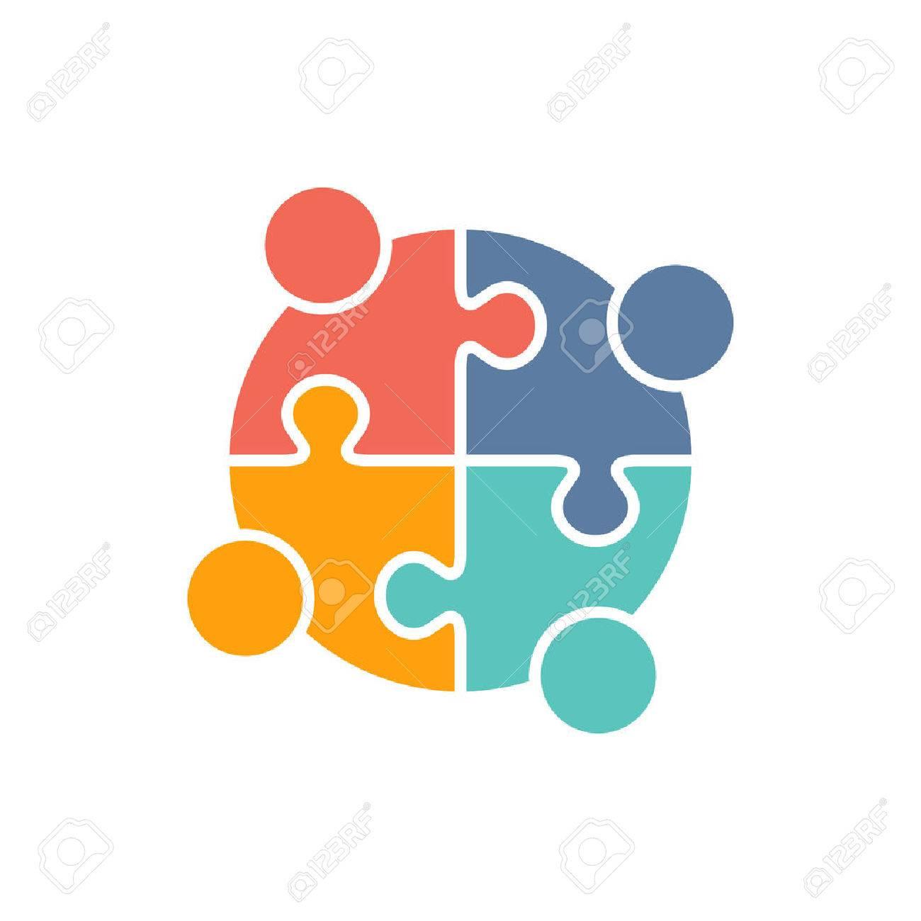 Lavoro di squadra Persone puzzle di pezzi. Vector graphic design illustrazione Archivio Fotografico - 56118810