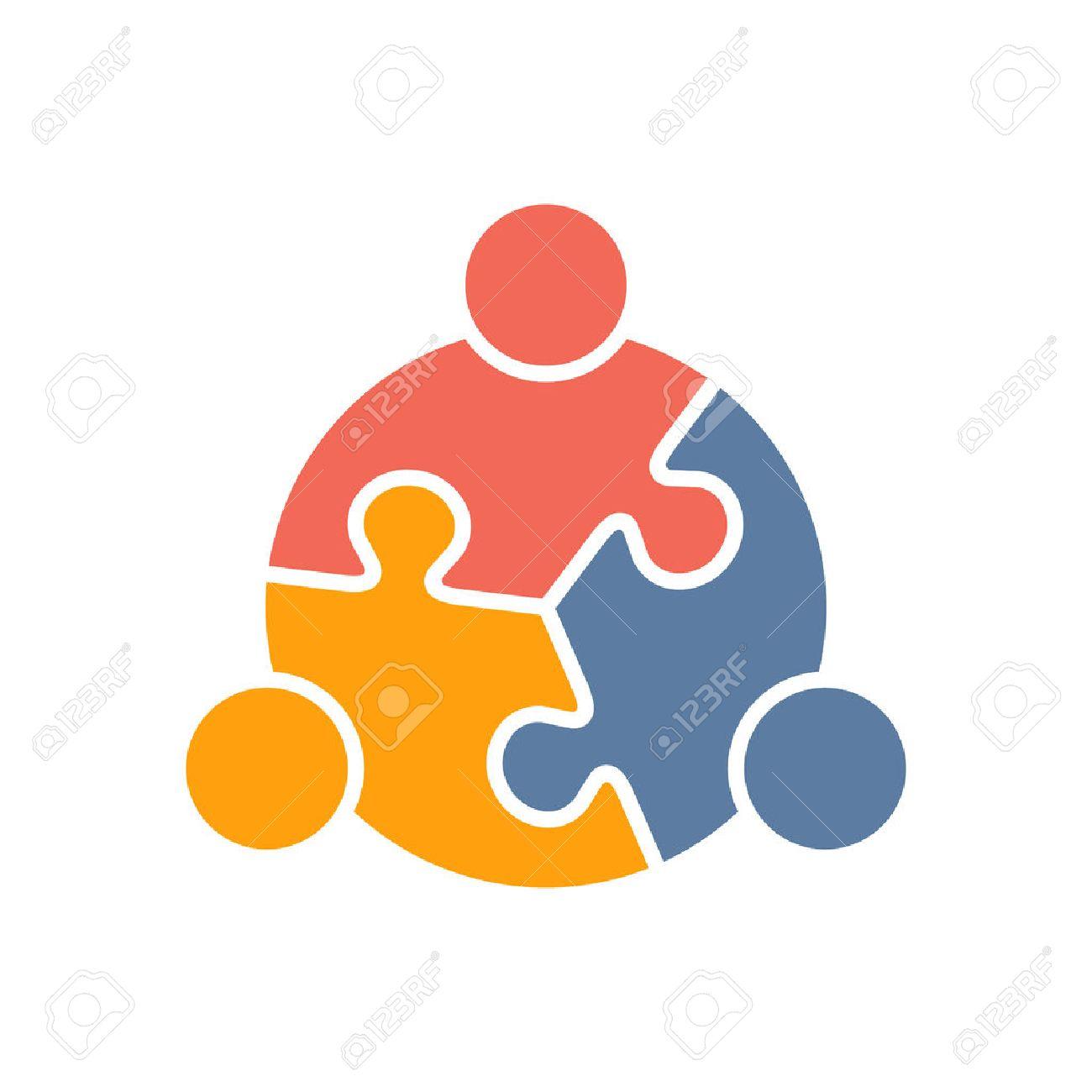 Lavoro di squadra Persone di puzzle tre pezzi. Vector graphic design illustrazione Archivio Fotografico - 56118813