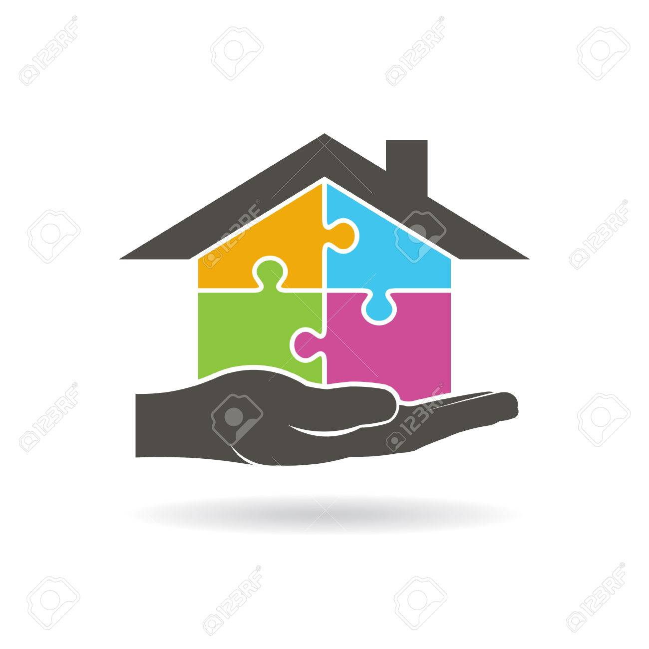 house builder by pieces of puzzle vector graphic design royalty