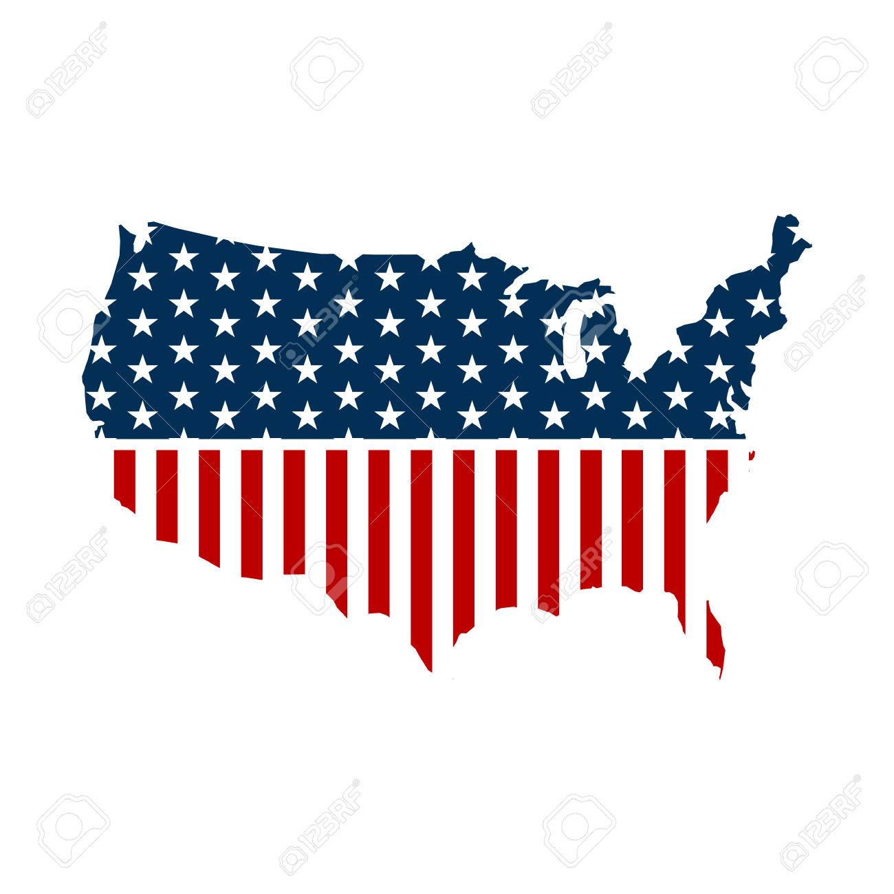 United States Patriotic Map Graphic Vector Design Illustration