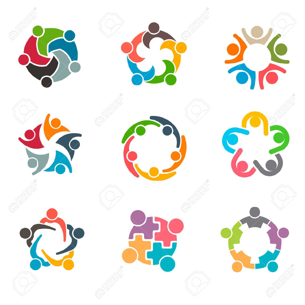Set of Unusual People Group Teamwork Logo. Vector graphic design illustration - 61698305
