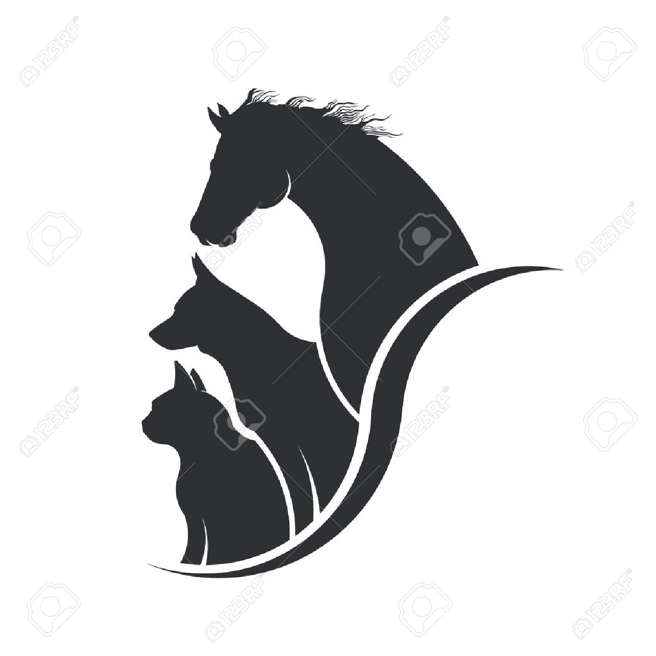 Horse, Dog, Cat Animal Lover Illustration Archivio Fotografico - 64972245