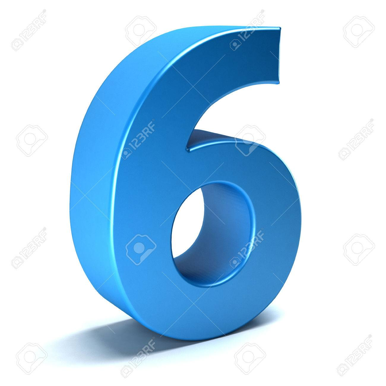 Number Six 6 Color Blue Icon. 3D Rendring Illustration Stock Photo ...