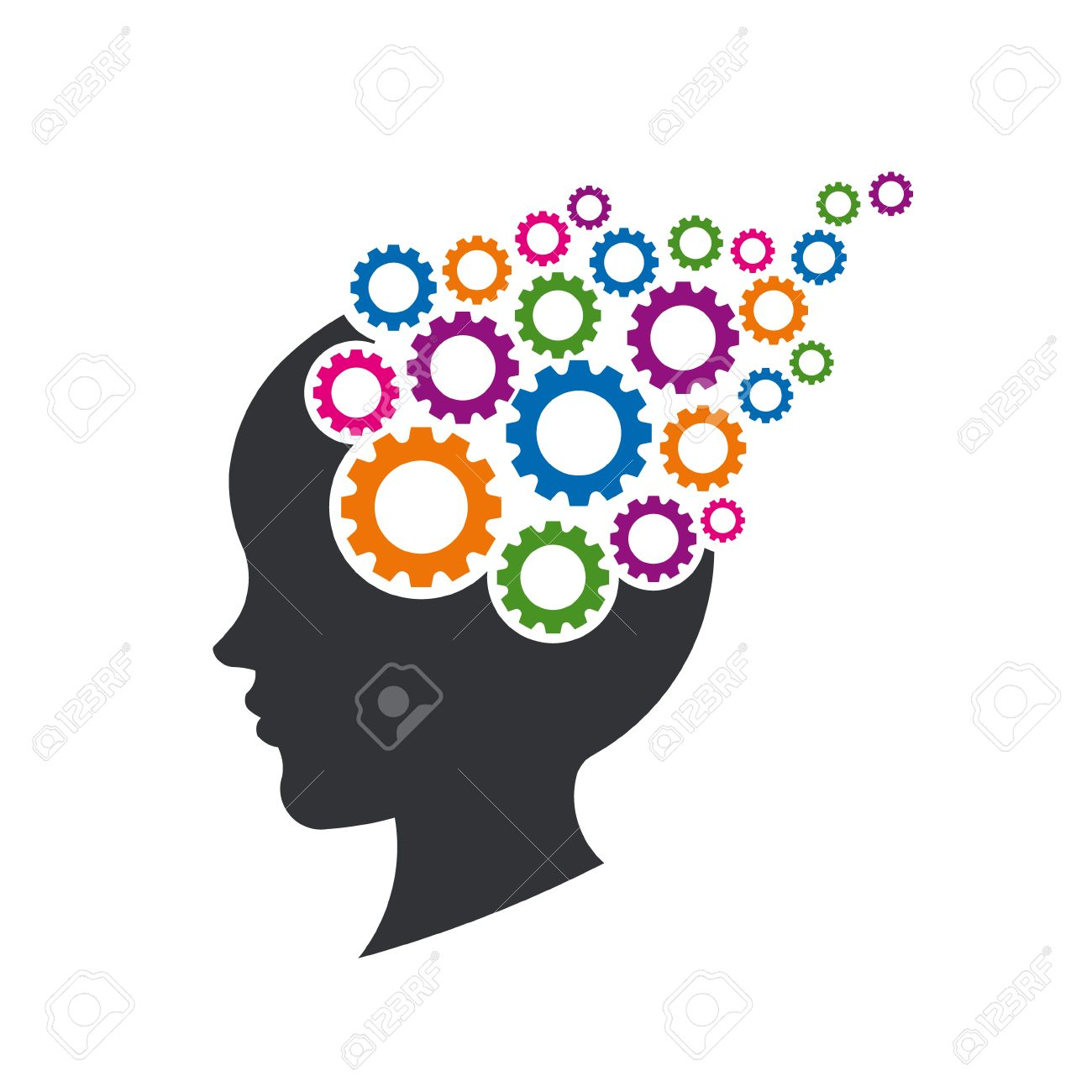Kid Brain with Gears. Concept of Mental Thinking. Vector Illustration - 74131163