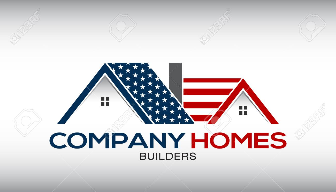 American House with Stars and Stripes Illustration for a Business Card - 76764819