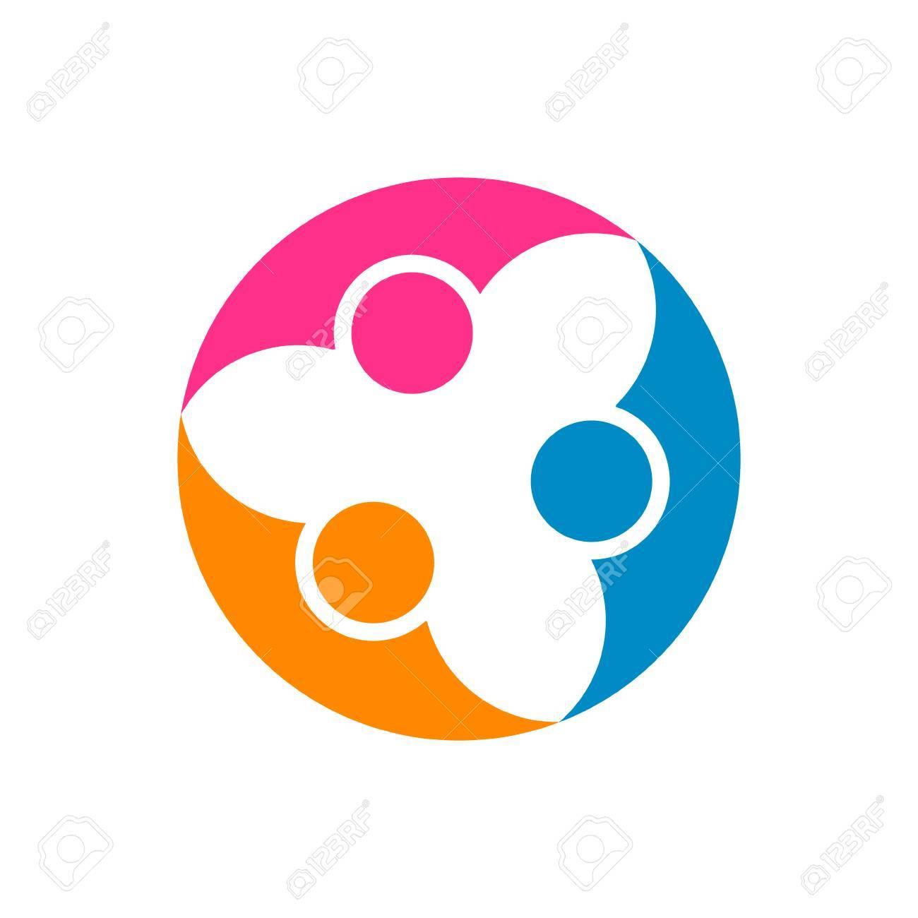 Abstrakte Menschen Zusammenarbeit. Vektor-Logo-Design-Vorlage ...