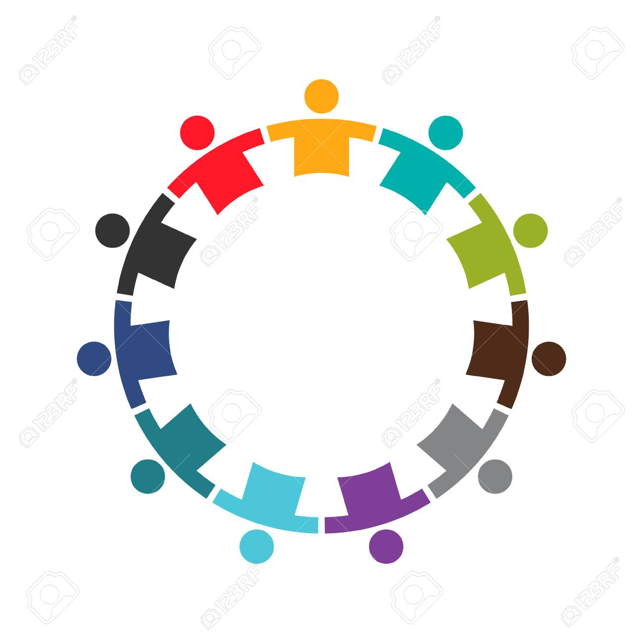 team of eleven people in a round logo design royalty free cliparts