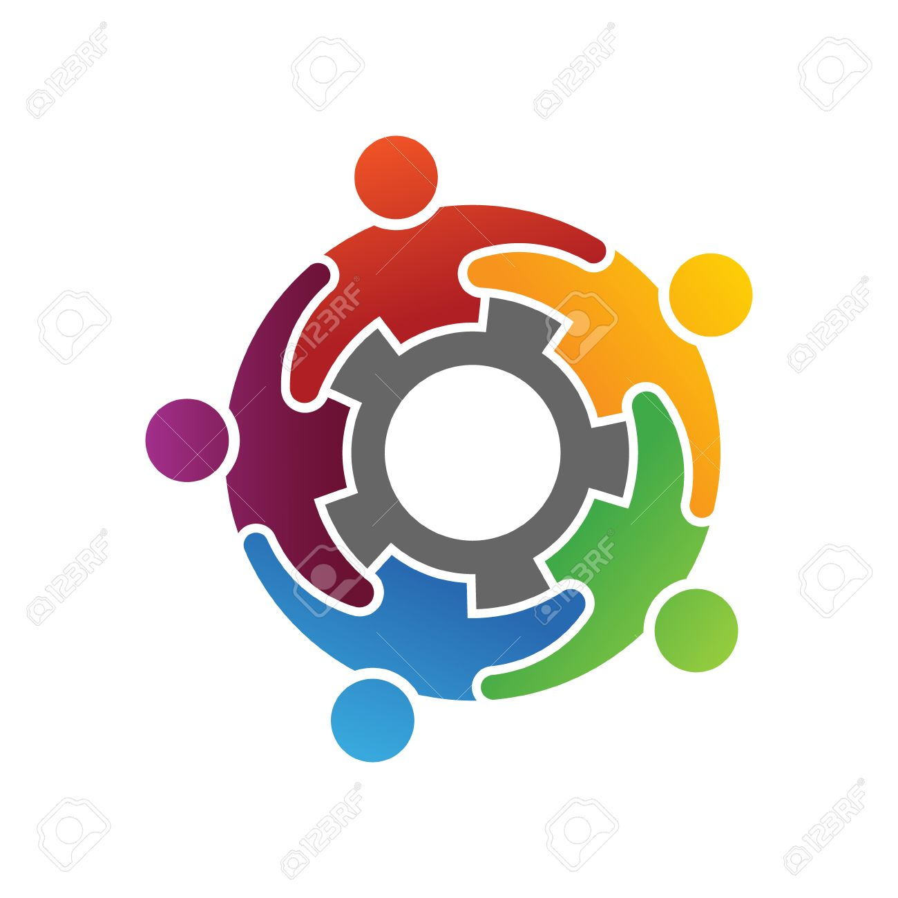 Group Of Diverse People Working Together Logo Concept Royalty Free