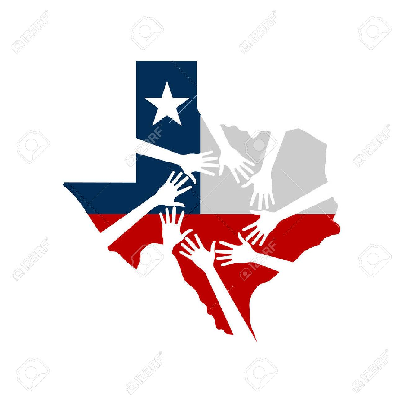 Hands Helping Texas Vector Illustration Archivio Fotografico - 85004796