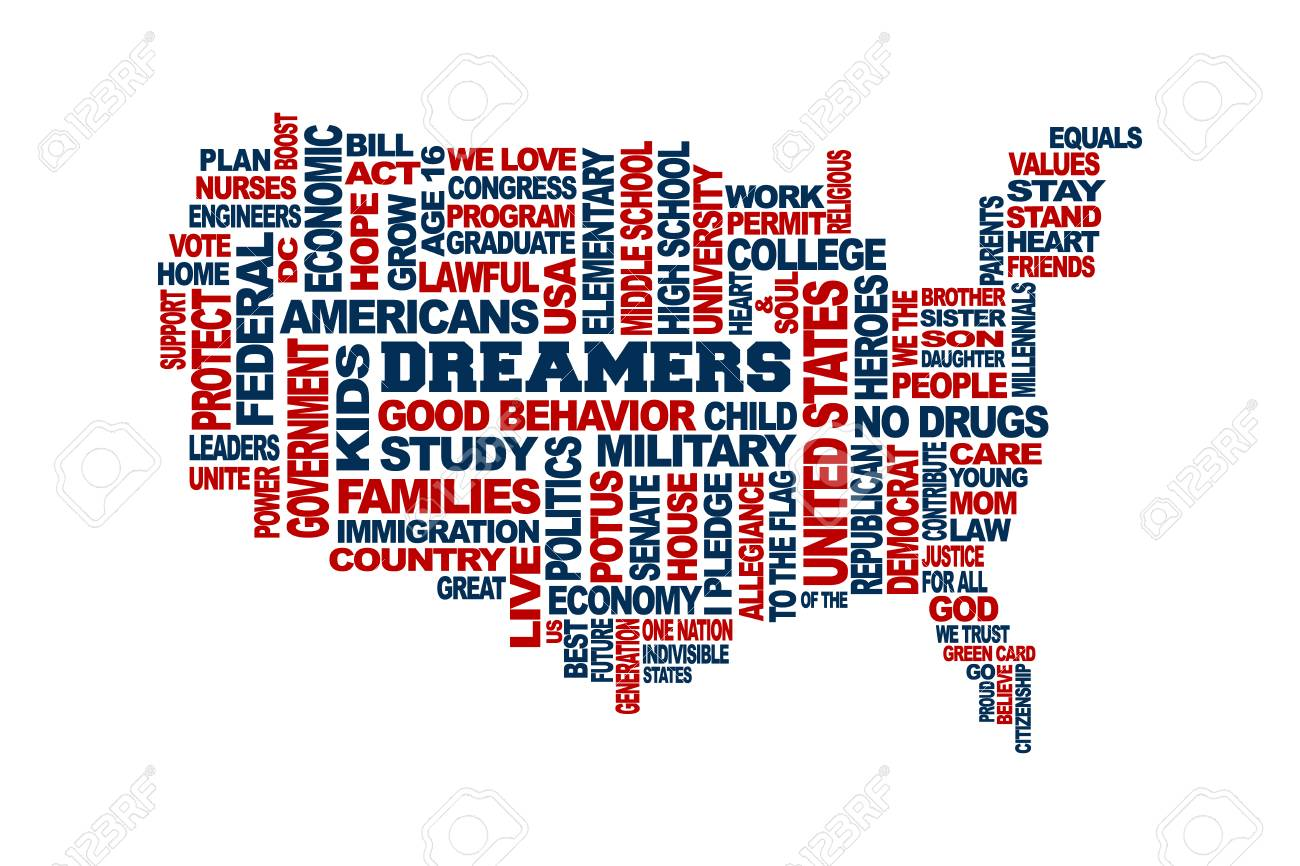 dreamers usa map support concept word cloud vector in white background stock vector 87948746