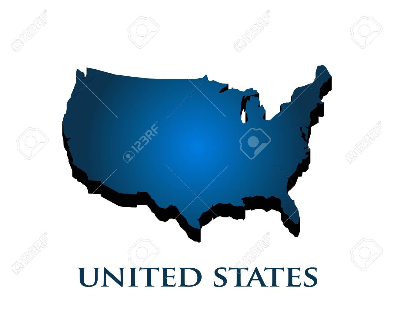 Graphic 3D USA map country in color gradient