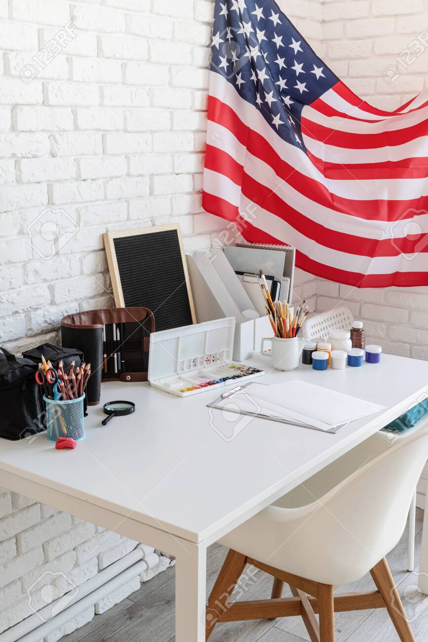 Artist Desk And Workspace With The Us Flag The Us Independence Stock Photo Picture And Royalty Free Image Image 147053290