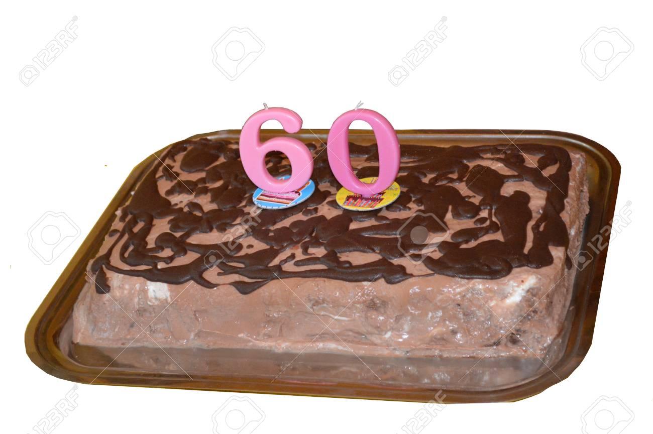 Kuchen Fur 60 Geburtstag Isoliert Auf Weiss Lizenzfreie Fotos