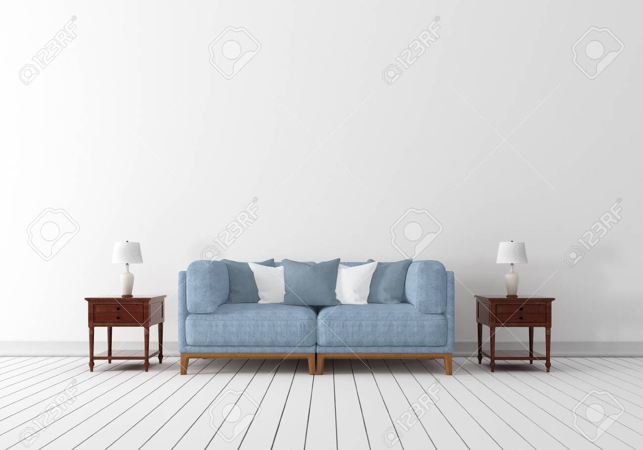 Interior Design With Light Blue Fabric Wooden Armchair White Stock Photo Picture And Royalty Free Image Image 136517520