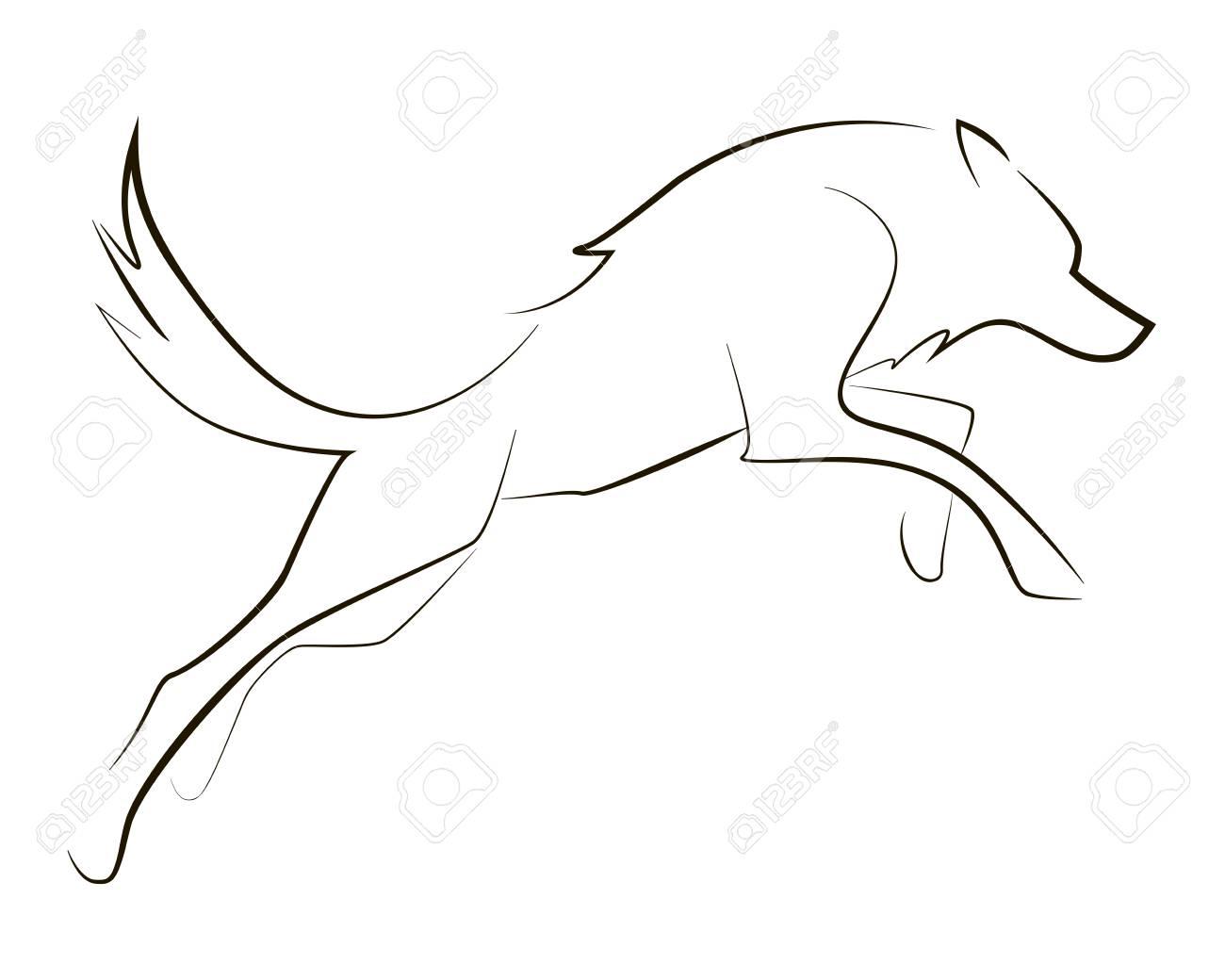 Running black line wolf on white background. Vector graphic. - 108858267