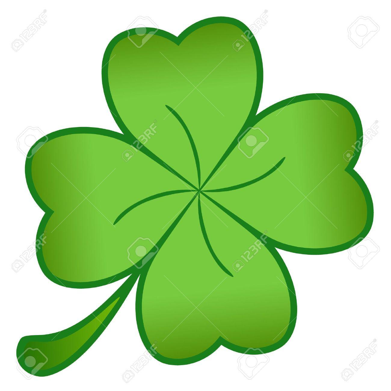 Ein Grünes Kleeblatt Isoliert Auf Weißem Hintergrund Lizenzfreie