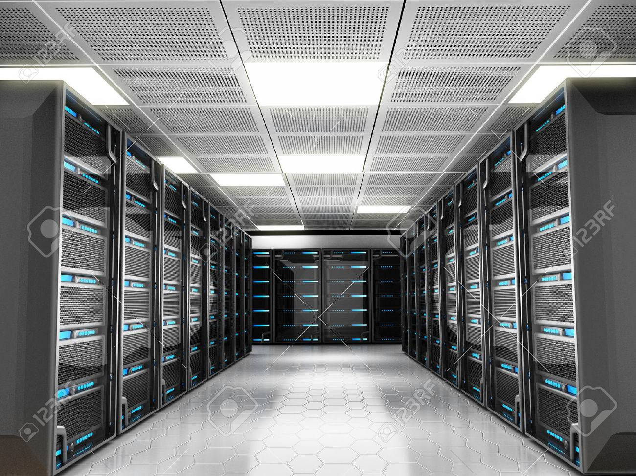 Network server room with high technology equipment Stock Photo - 29622976