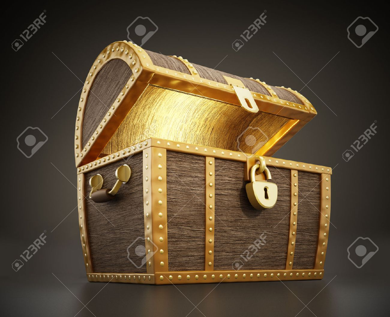 Glowing treasure chest full of treasures Stock Photo - 29608028
