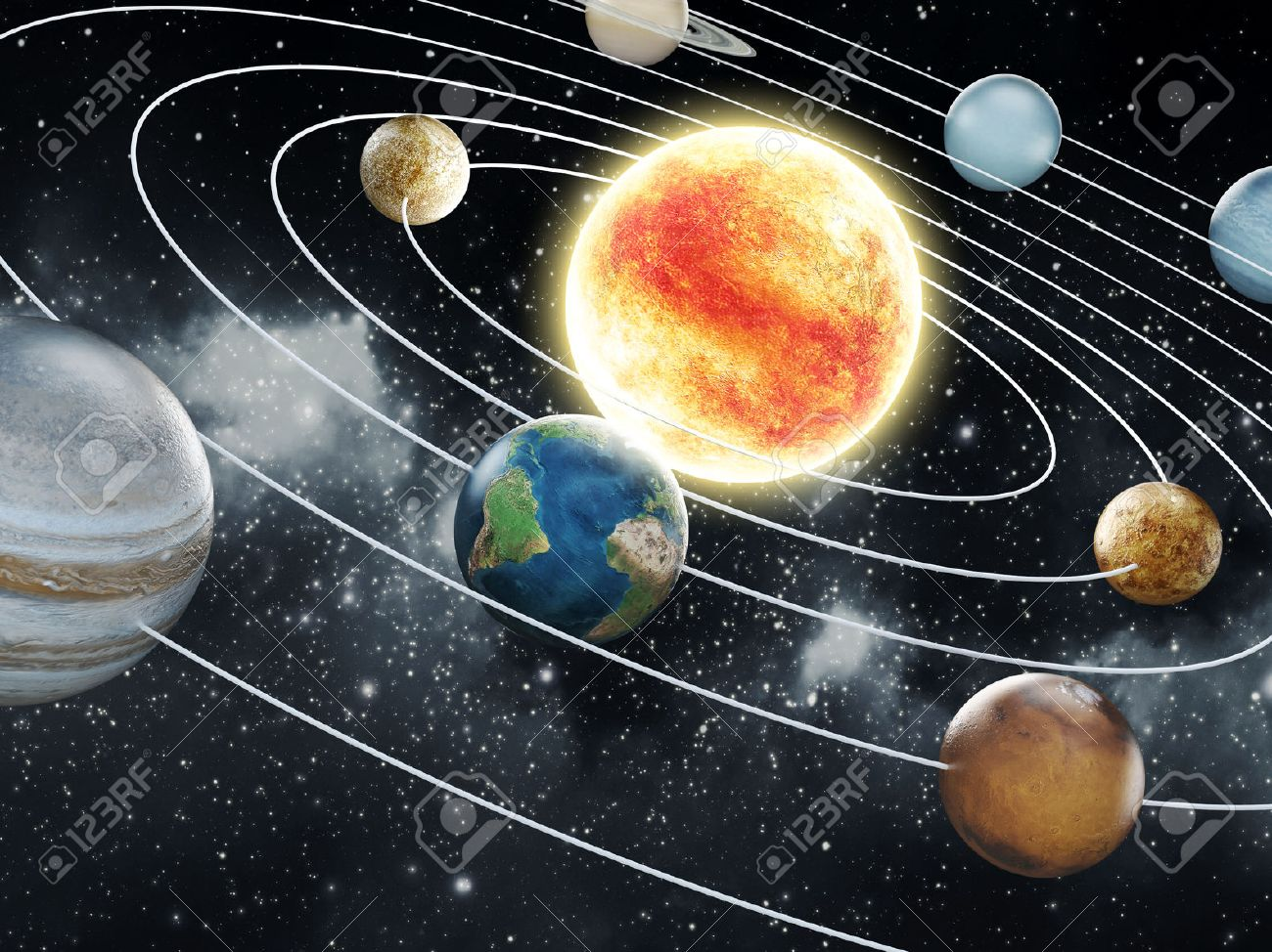 Solar system with eight planets Stock Photo - 30153920