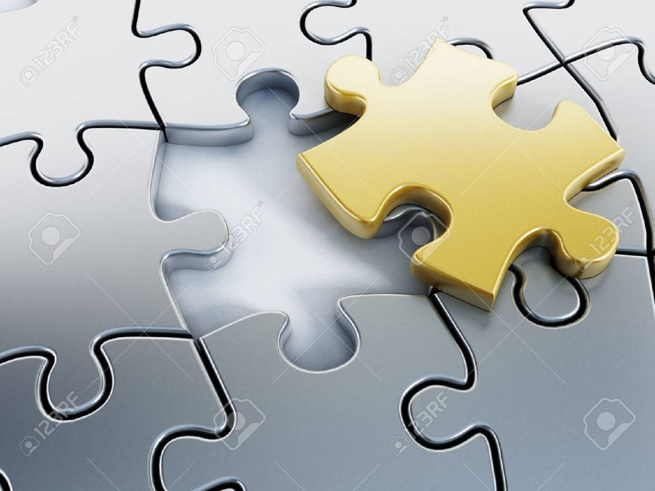 Missing gold puzzle piece on puzzle parts. Stock Photo - 30714055