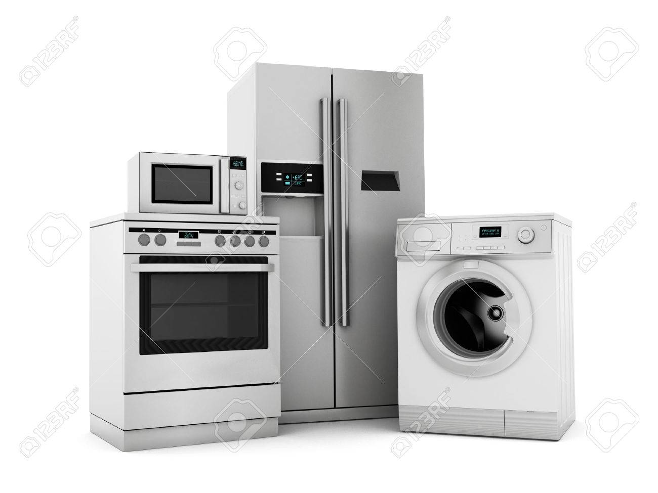 Group of house appliances isolated on white Stock Photo - 30807890