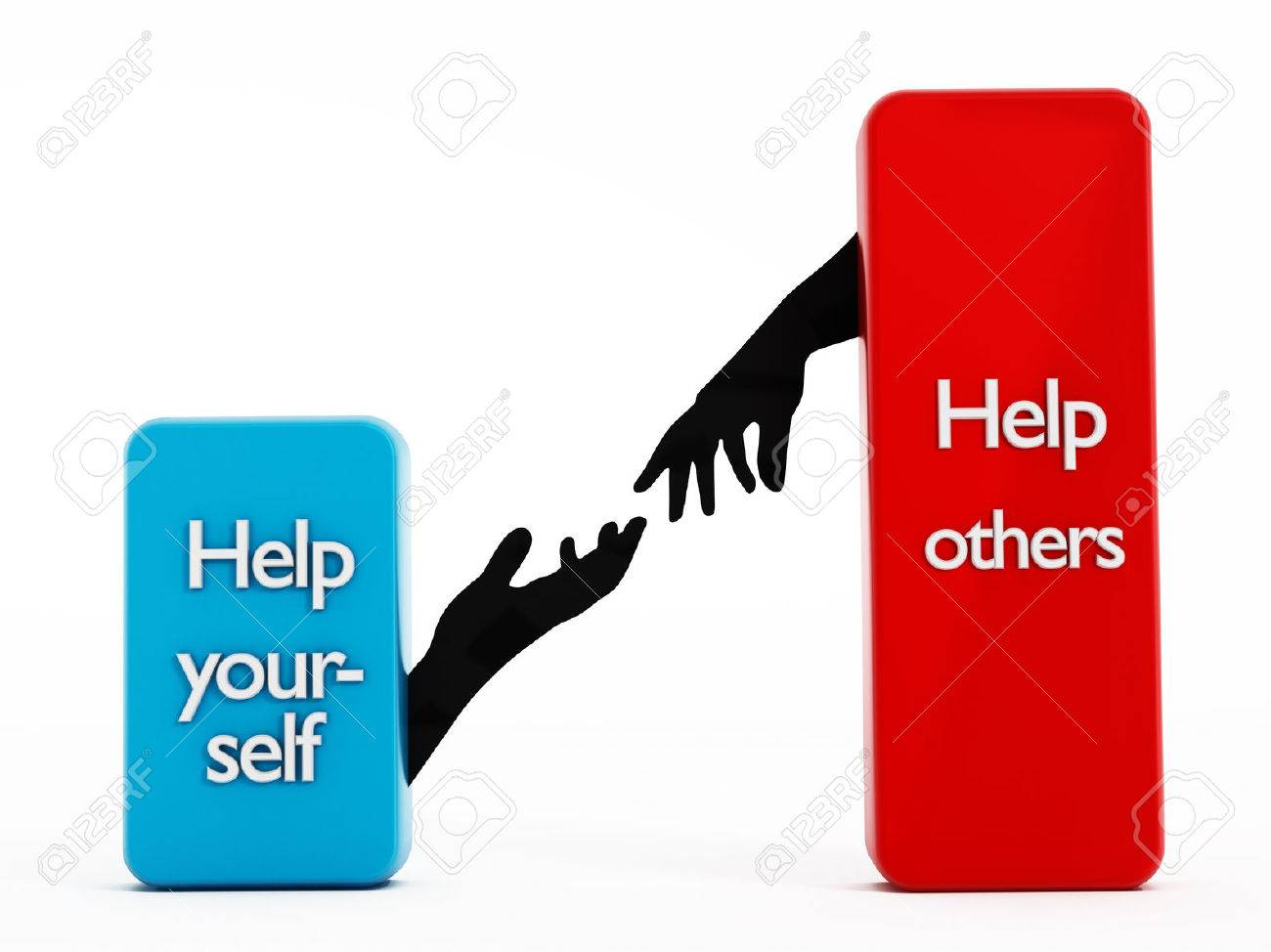 Help yourself , help others texts on rectangle shapes. Stock Photo - 30907818