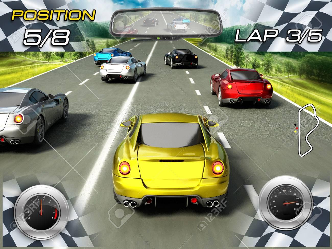 Car racing video game Stock Photo - 31396730