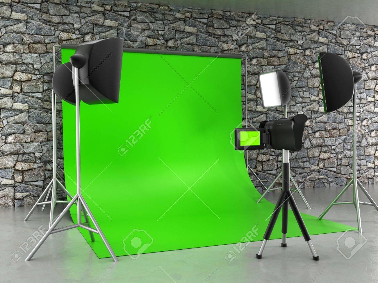 Greenscreen studio setup Stock Photo - 32056573