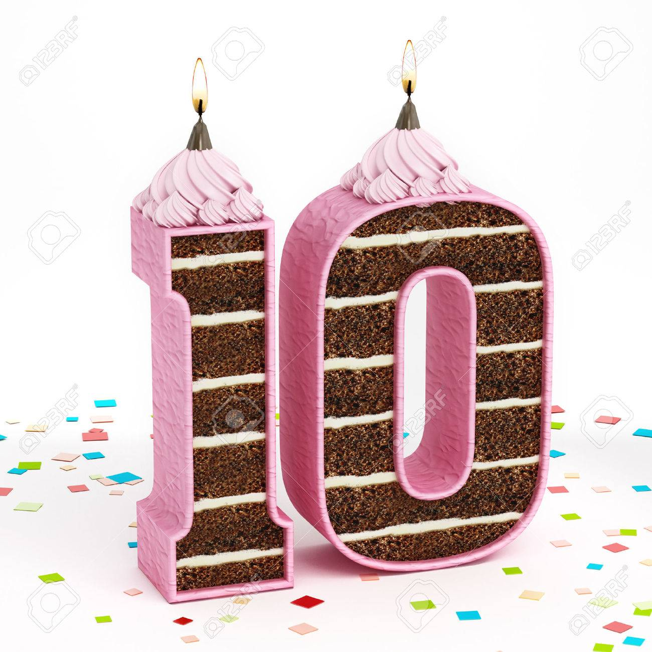 Fabulous Number 10 Shaped Chocolate Birthday Cake With Lit Candle Stock Funny Birthday Cards Online Elaedamsfinfo