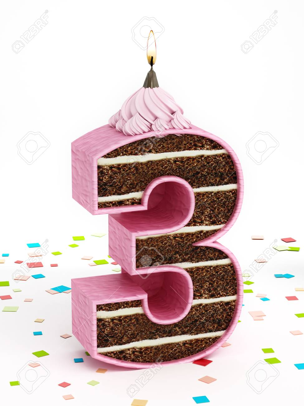 Number 3 Shaped Chocolate Birthday Cake With Lit Candle Stock Photo