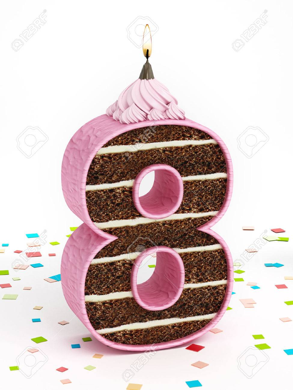 Number 8 Shaped Chocolate Birthday Cake With Lit Candle Stock Photo