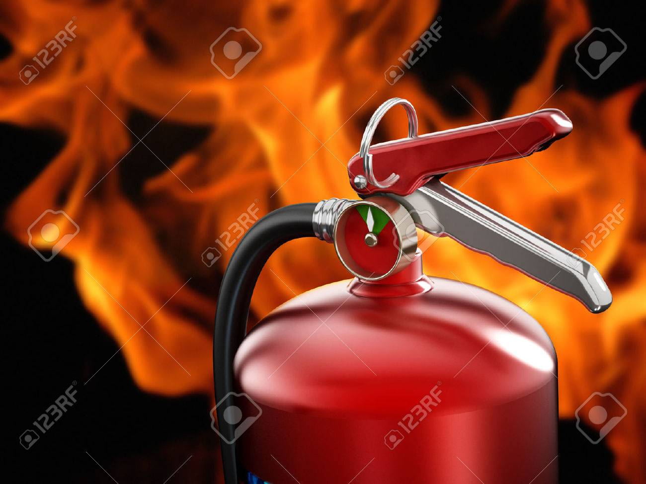 Fire extinguisher on flame background. Stock Photo - 33480449