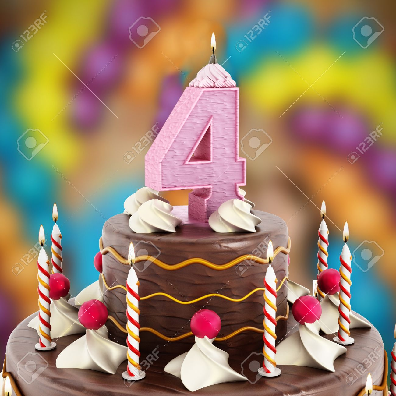Birthday Cake With Number 4 Lit Candle Stock Photo