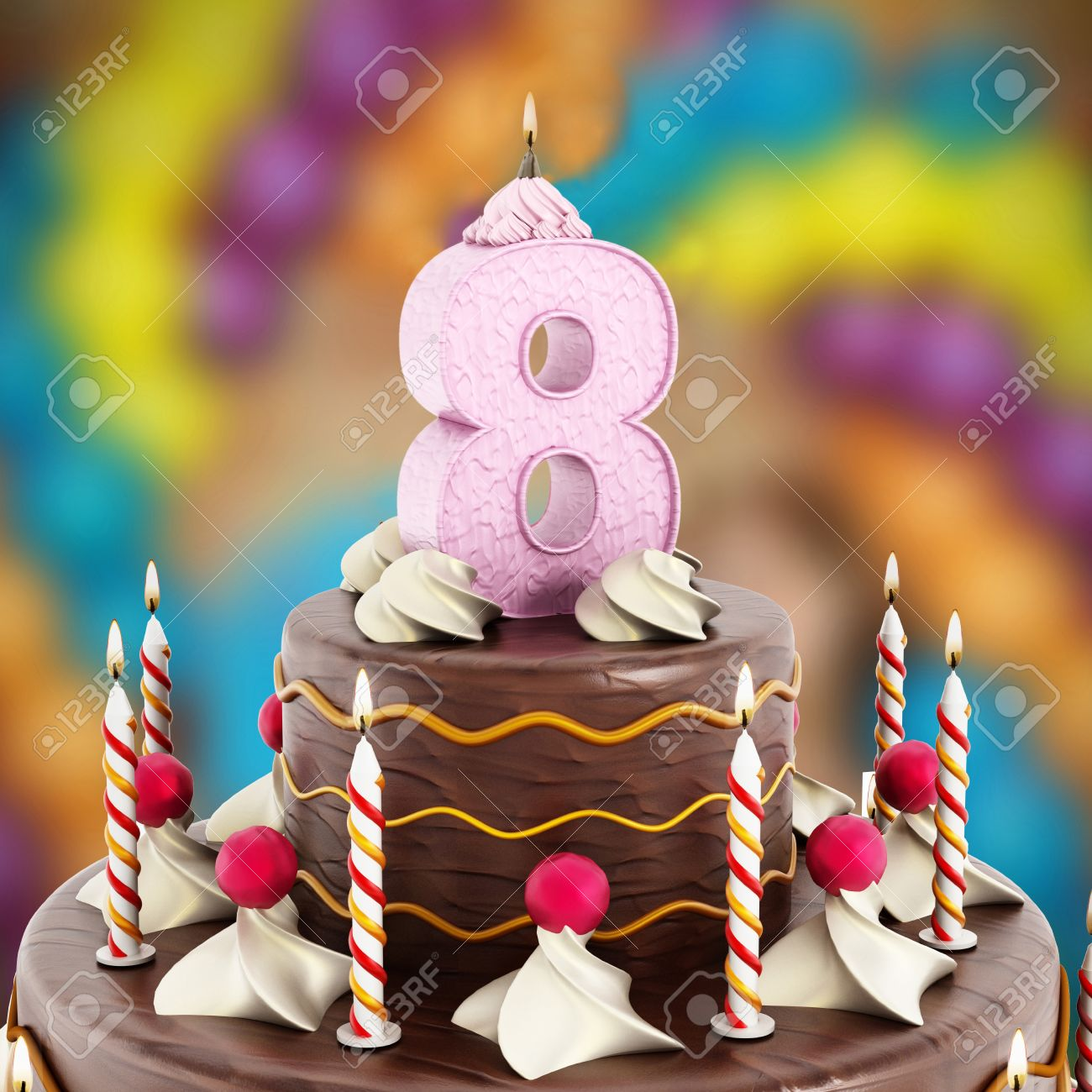 Birthday Cake With Number 8 Lit Candle Stock Photo
