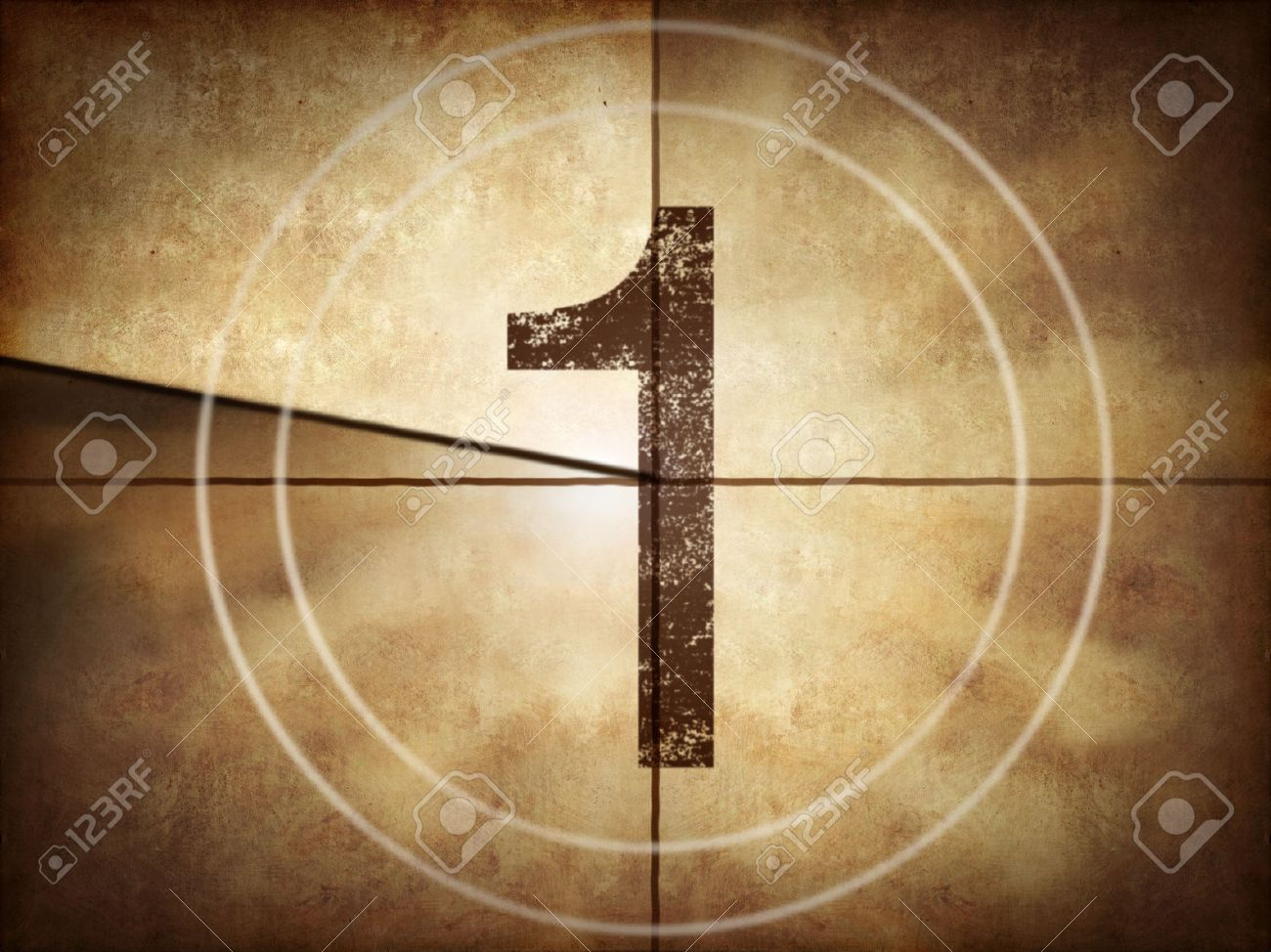 Old movie countdown number 1 Stock Photo - 34847165